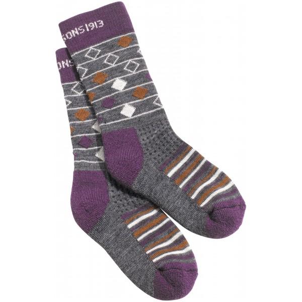 Violet/Amaranth Romb Stripe Fotis Kids Woolterry Socks, Didriksons