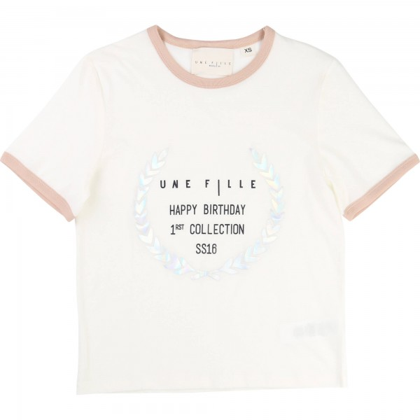 Vit/Off White Tee with Print, Une Fille