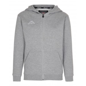 Grå/Melerad Jr Sweat Zip Hood Omni, Kappa