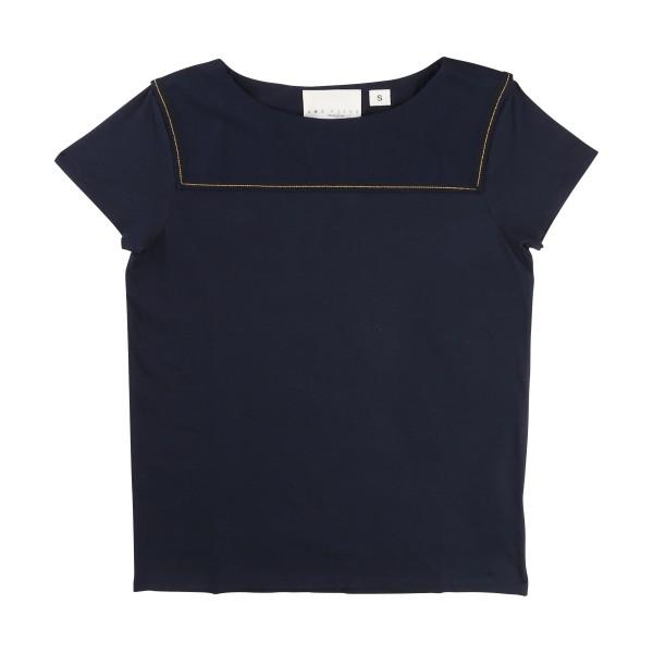 NYHET! Mörkblå T-shirt La Face Cache, Une Fille