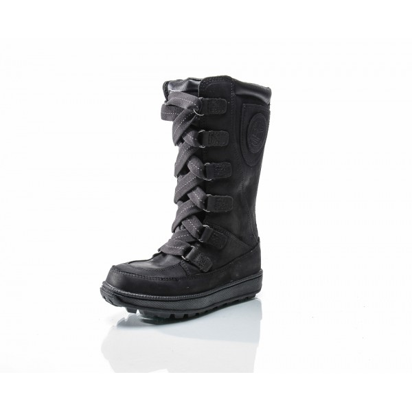 BLACK NUBUCK 8 IN LACE UP WP JUNIOR, TIMBERLAND