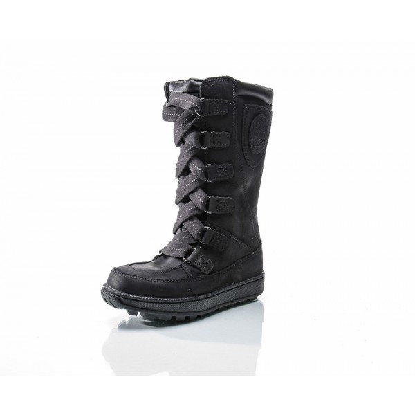 BLACK NUBUCK 8 IN LACE UP WP YOUTH, TIMBERLAND